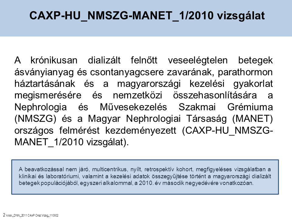 2 kissi_DNN_2011 CAxP Orsz.Vizsg_110602 A krónikusan dializált felnőtt veseelégtelen betegek ásványianyag és csontanyagcsere zavarának, parathormon háztartásának és a magyarországi kezelési gyakorlat megismerésére és nemzetközi összehasonlítására a Nephrologia és Művesekezelés Szakmai Grémiuma (NMSZG) és a Magyar Nephrologiai Társaság (MANET) országos felmérést kezdeményezett (CAXP-HU_NMSZG- MANET_1/2010 vizsgálat).