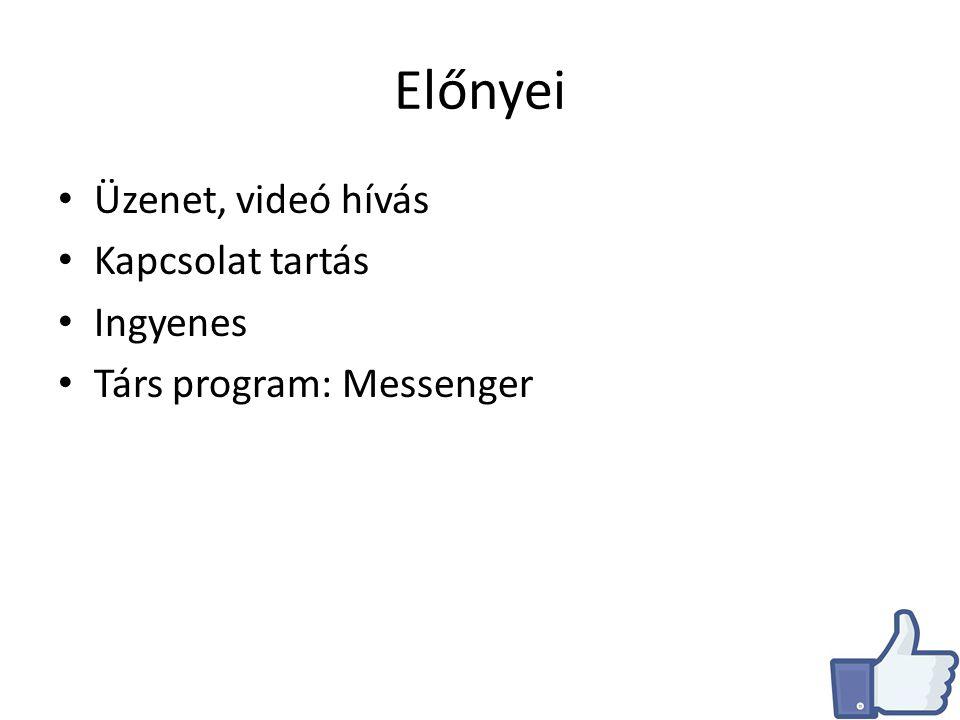 Előnyei Üzenet, videó hívás Kapcsolat tartás Ingyenes Társ program: Messenger