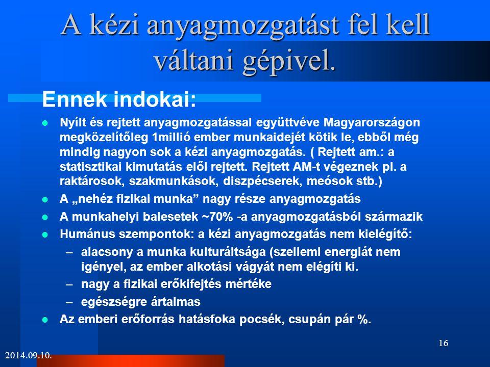 A kézi anyagmozgatást fel kell váltani gépivel. Ennek indokai: Nyílt és rejtett anyagmozgatással együttvéve Magyarországon megközelítőleg 1millió embe