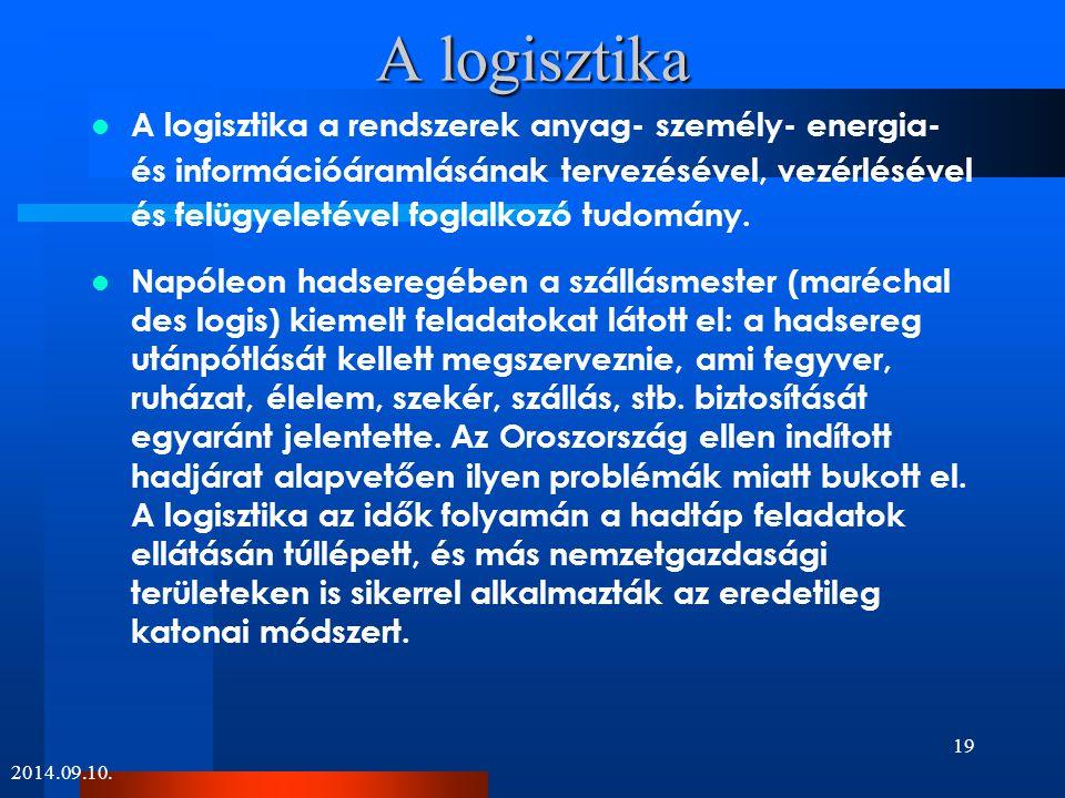 A logisztika A logisztika a rendszerek anyag- személy- energia- és információáramlásának tervezésével, vezérlésével és felügyeletével foglalkozó tudom