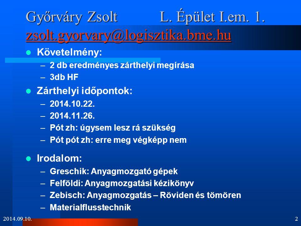 Győrváry Zsolt L. Épület I.em. 1. zsolt.gyorvary@logisztika.bme.hu zsolt.gyorvary@logisztika.bme.hu Követelmény: –2 db eredményes zárthelyi megírása –