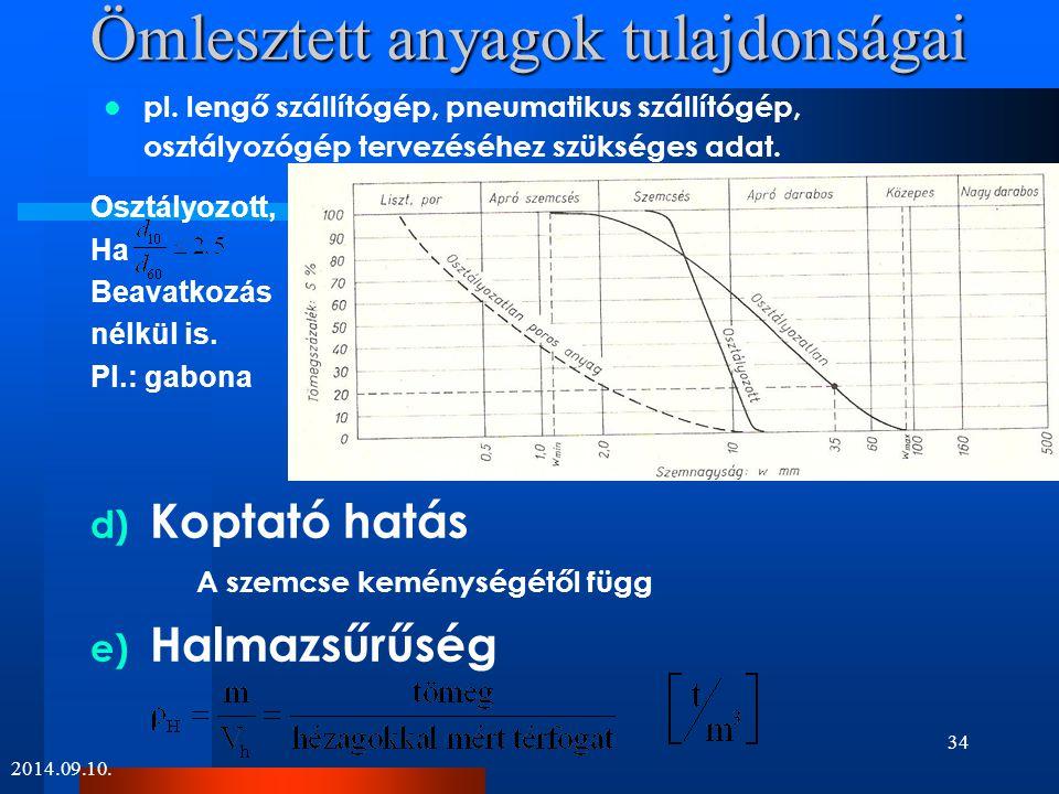 Ömlesztett anyagok tulajdonságai f) Nedvességtartalom Száraz tömeg: 105 °C –on 1 órán át szárított anyag g) Egyéb tulajdonságok  korrozív  mérgező  magas hőmérsékletű  robbanó, stb.