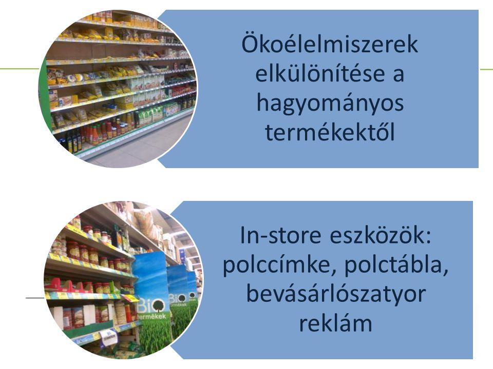 Ökoélelmiszerek elkülönítése a hagyományos termékektől In-store eszközök: polccímke, polctábla, bevásárlószatyor reklám