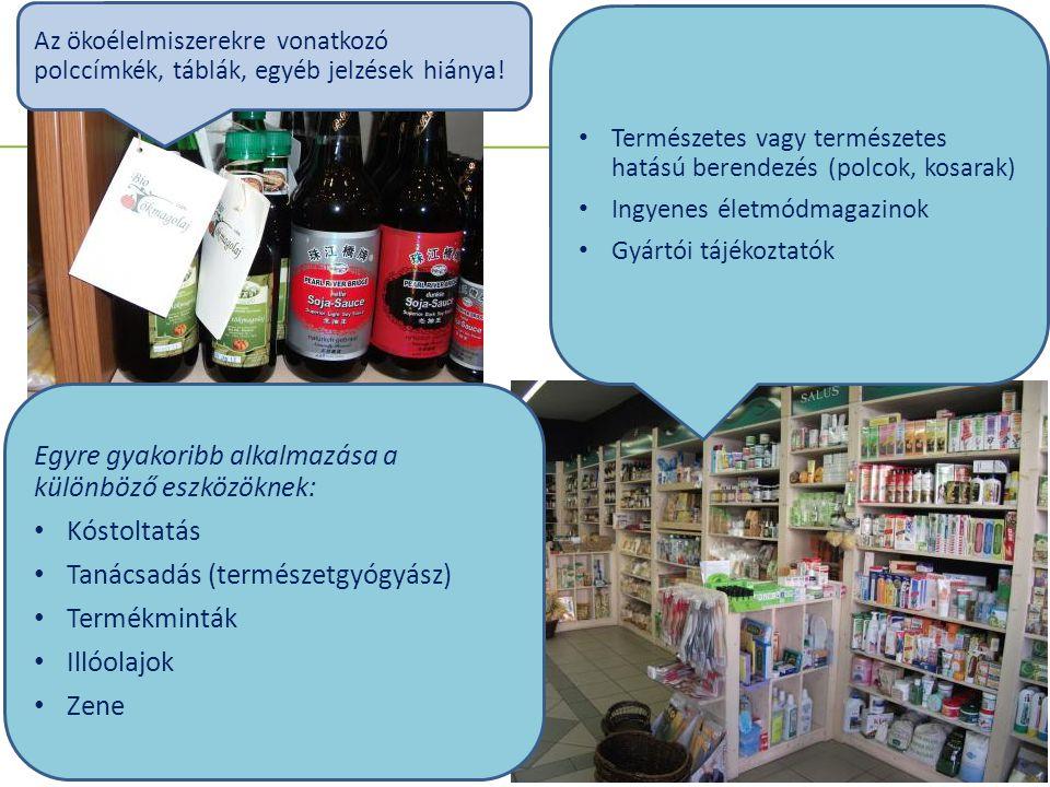 Hogyan kommunikálják az ökotermékeket a hiper- és szupermarketek (n=3), drogériák (n=3).