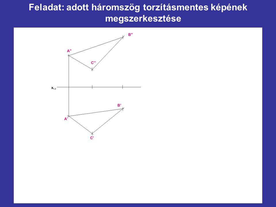 Feladat: adott háromszög torzításmentes képének megszerkesztése
