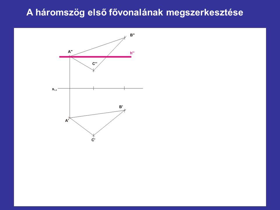 A háromszög első fővonalának megszerkesztése
