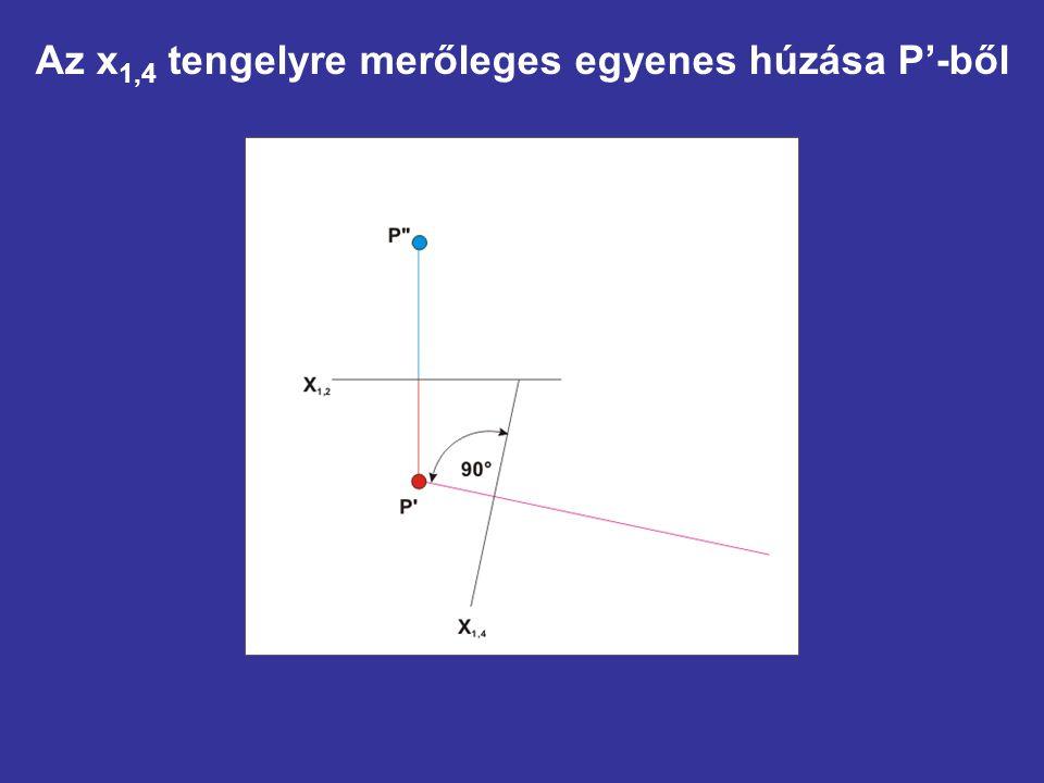 Az x 1,4 tengelyre merőleges egyenes húzása P'-ből