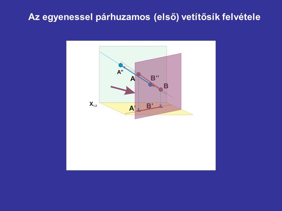 Az egyenessel párhuzamos (első) vetítősík felvétele