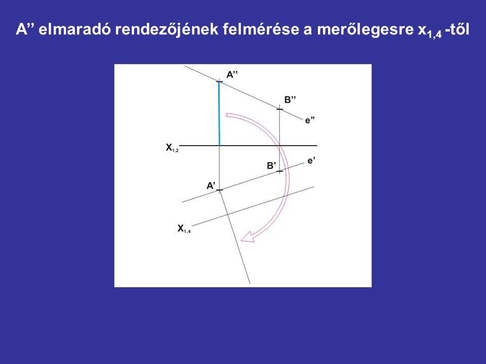 A'' elmaradó rendezőjének felmérése a merőlegesre x 1,4 -től