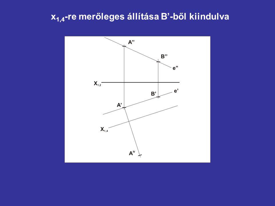 x 1,4 -re merőleges állítása B'-ből kiindulva