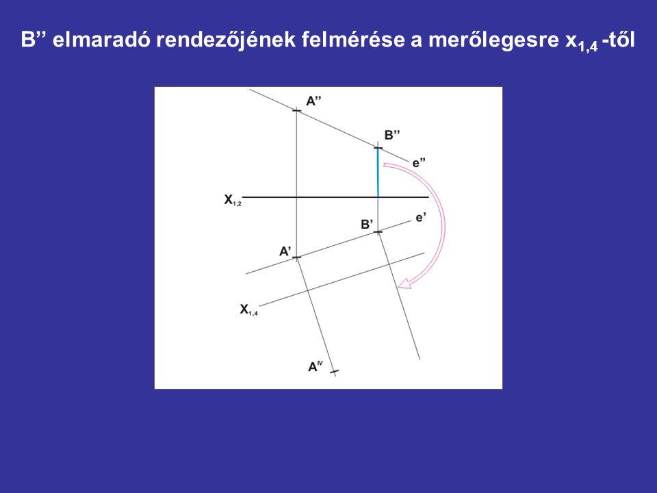 B'' elmaradó rendezőjének felmérése a merőlegesre x 1,4 -től
