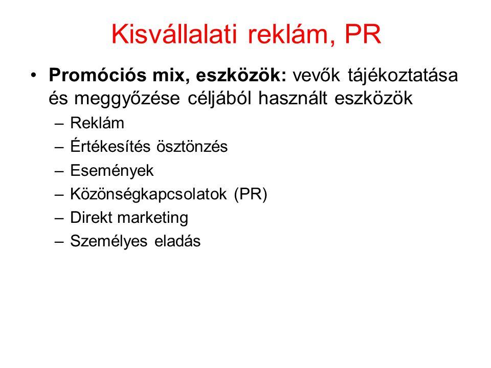 Kisvállalati reklám, PR Promóciós mix, eszközök: vevők tájékoztatása és meggyőzése céljából használt eszközök –Reklám –Értékesítés ösztönzés –Eseménye