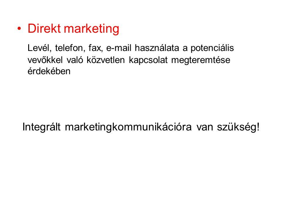 Direkt marketing Levél, telefon, fax, e-mail használata a potenciális vevőkkel való közvetlen kapcsolat megteremtése érdekében Integrált marketingkomm