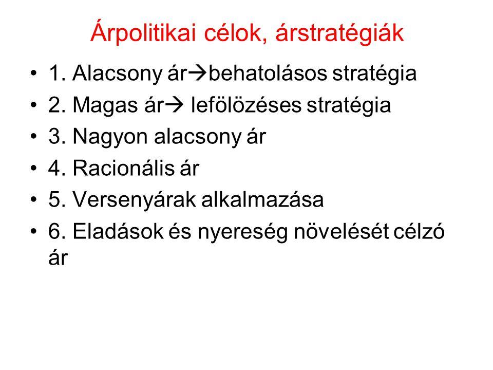 Árpolitikai célok, árstratégiák 1. Alacsony ár  behatolásos stratégia 2. Magas ár  lefölözéses stratégia 3. Nagyon alacsony ár 4. Racionális ár 5. V