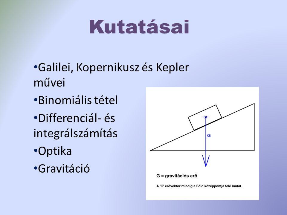 Kutatásai Galilei, Kopernikusz és Kepler művei Binomiális tétel Differenciál- és integrálszámítás Optika Gravitáció