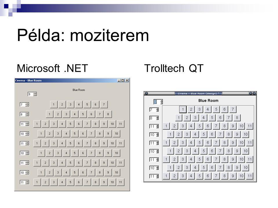 Példa: moziterem Microsoft.NETTrolltech QT