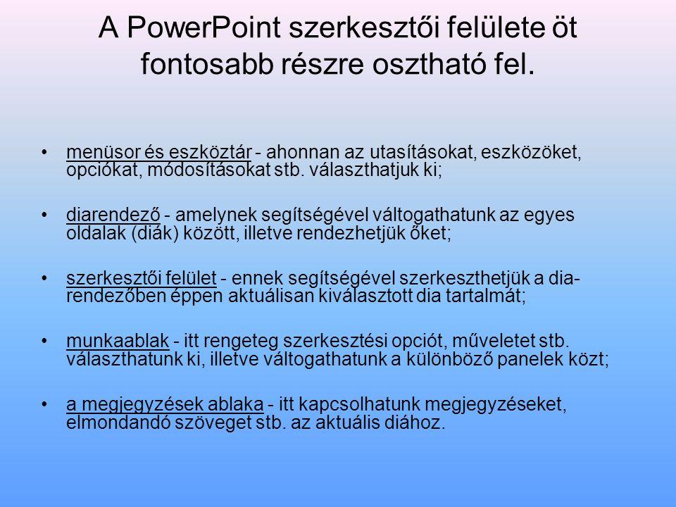 A PowerPoint szerkesztői felülete öt fontosabb részre osztható fel. menüsor és eszköztár - ahonnan az utasításokat, eszközöket, opciókat, módosításoka
