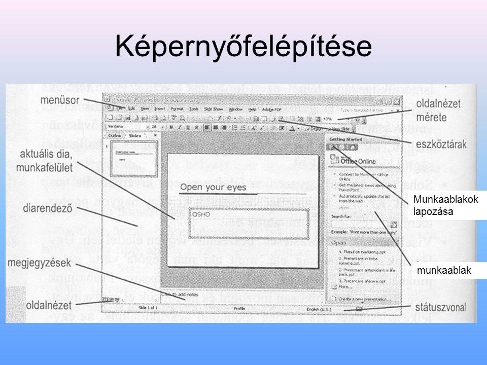 Képernyőfelépítése munkaablak Munkaablakok lapozása