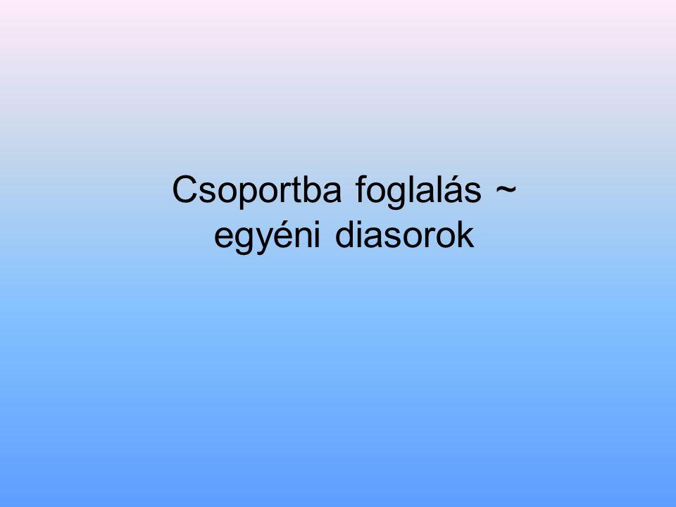 Csoportba foglalás ~ egyéni diasorok