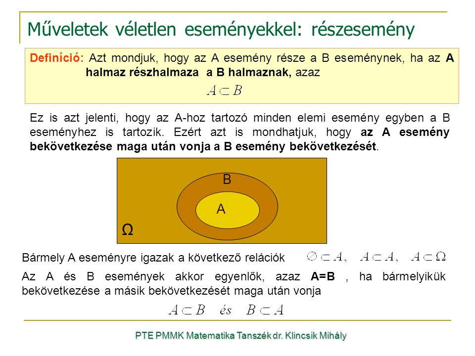 Műveletek véletlen eseményekkel: részesemény PTE PMMK Matematika Tanszék dr. Klincsik Mihály Definíció: Azt mondjuk, hogy az A esemény része a B esemé