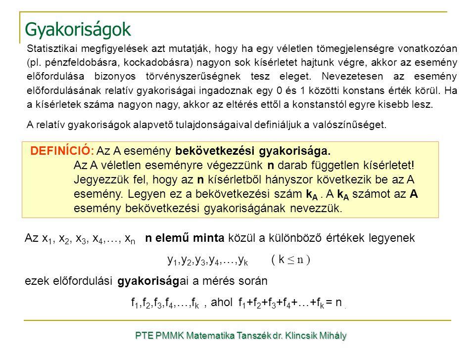 Gyakoriságok PTE PMMK Matematika Tanszék dr. Klincsik Mihály Statisztikai megfigyelések azt mutatják, hogy ha egy véletlen tömegjelenségre vonatkozóan