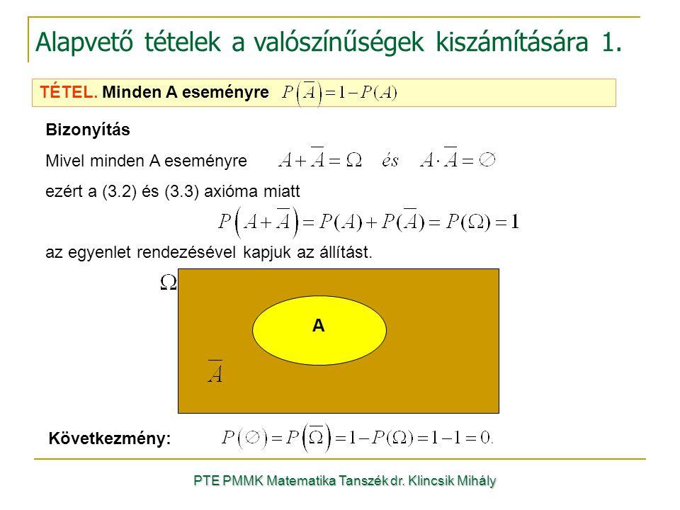 Bizonyítás Mivel minden A eseményre ezért a (3.2) és (3.3) axióma miatt az egyenlet rendezésével kapjuk az állítást. Következmény: A PTE PMMK Matemati