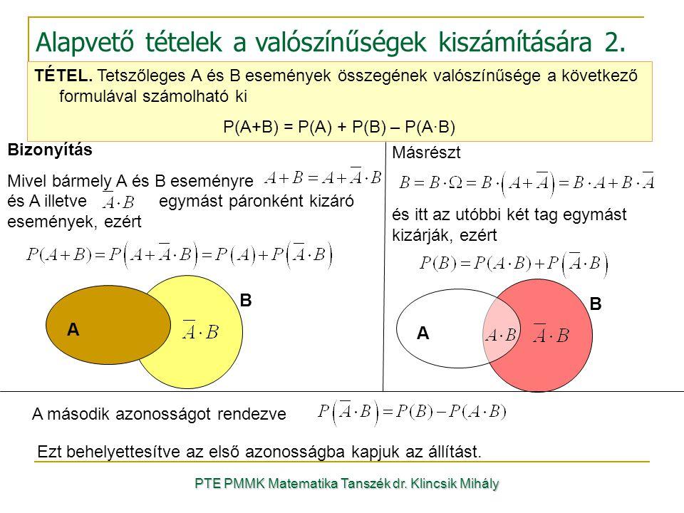 PTE PMMK Matematika Tanszék dr. Klincsik Mihály Alapvető tételek a valószínűségek kiszámítására 2. TÉTEL. Tetszőleges A és B események összegének való