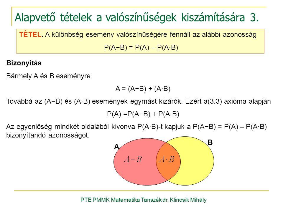 PTE PMMK Matematika Tanszék dr. Klincsik Mihály Alapvető tételek a valószínűségek kiszámítására 3. TÉTEL. A különbség esemény valószínűségére fennáll