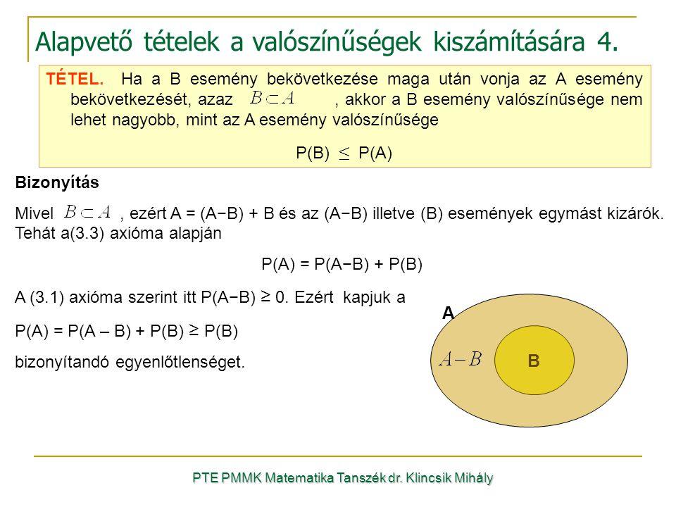 PTE PMMK Matematika Tanszék dr. Klincsik Mihály Alapvető tételek a valószínűségek kiszámítására 4. B A TÉTEL. Ha a B esemény bekövetkezése maga után v