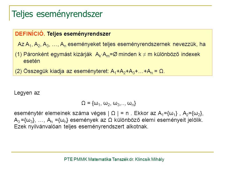 PTE PMMK Matematika Tanszék dr. Klincsik Mihály Teljes eseményrendszer DEFINÍCIÓ. Teljes eseményrendszer Az A 1, A 2, A 3, …, A n eseményeket teljes e