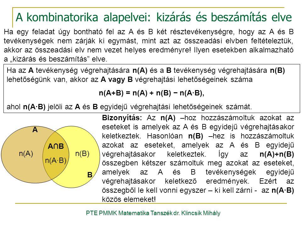 Ha egy feladat úgy bontható fel az A és B két résztevékenységre, hogy az A és B tevékenységek nem zárják ki egymást, mint azt az összeadási elvben feltételeztük, akkor az összeadási elv nem vezet helyes eredményre.