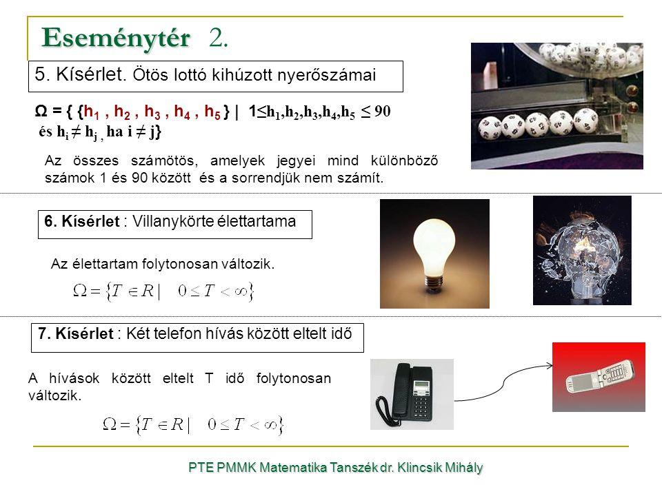 Eseménytér Eseménytér 2. PTE PMMK Matematika Tanszék dr. Klincsik Mihály 6. Kísérlet : Villanykörte élettartama Az élettartam folytonosan változik. Ω