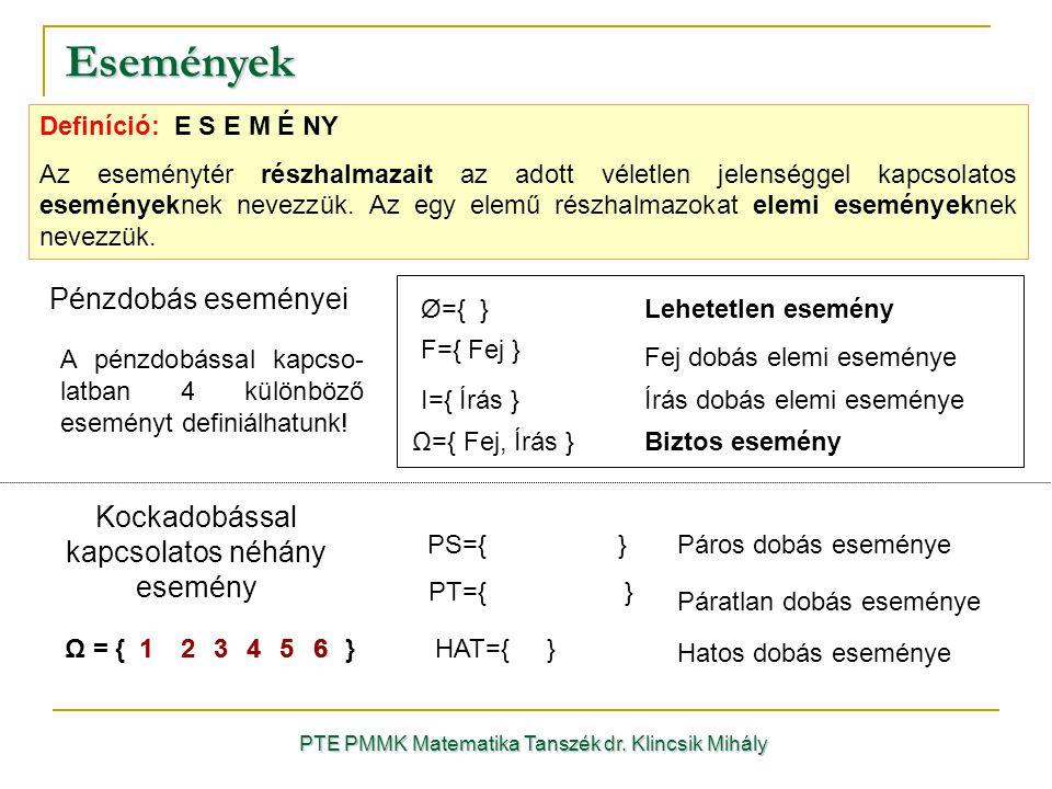 Definíció: E S E M É NY Az eseménytér részhalmazait az adott véletlen jelenséggel kapcsolatos eseményeknek nevezzük. Az egy elemű részhalmazokat elemi