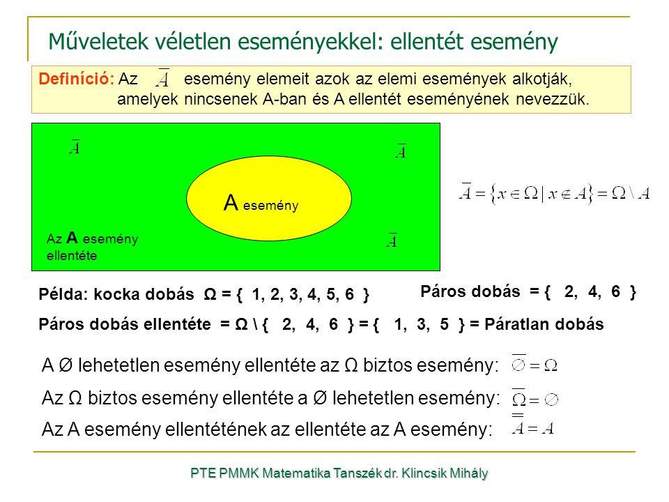 Definíció: Az esemény elemeit azok az elemi események alkotják, amelyek nincsenek A-ban és A ellentét eseményének nevezzük. Műveletek véletlen esemény