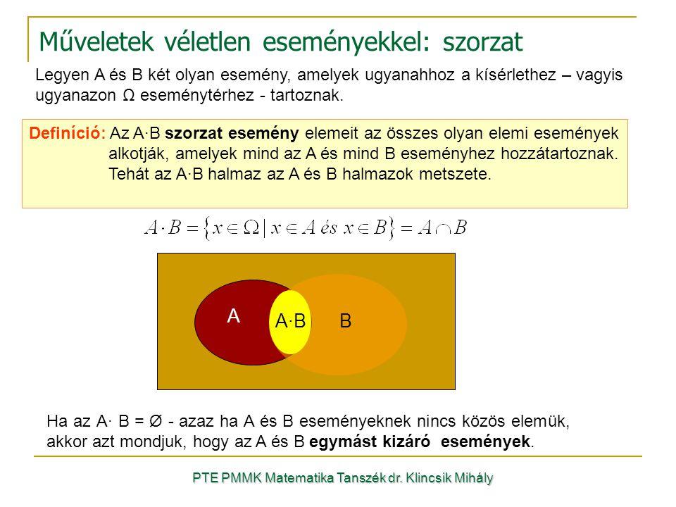 Műveletek véletlen eseményekkel: szorzat Legyen A és B két olyan esemény, amelyek ugyanahhoz a kísérlethez – vagyis ugyanazon Ω eseménytérhez - tartoznak.