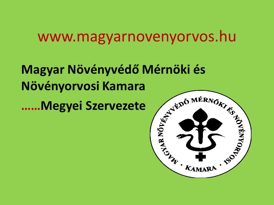 www.magyarnovenyorvos.hu Magyar Növényvédő Mérnöki és Növényorvosi Kamara ……Megyei Szervezete