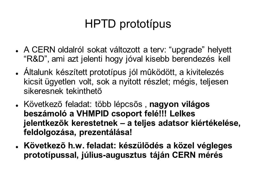HPTD prototípus A CERN oldalról sokat változott a terv: upgrade helyett R&D , ami azt jelenti hogy jóval kisebb berendezés kell Általunk készített prototípus jól mûködött, a kivitelezés kicsit ügyetlen volt, sok a nyitott részlet; mégis, teljesen sikeresnek tekinthetõ Következõ feladat: több lépcsõs, nagyon világos beszámoló a VHMPID csoport felé!!.