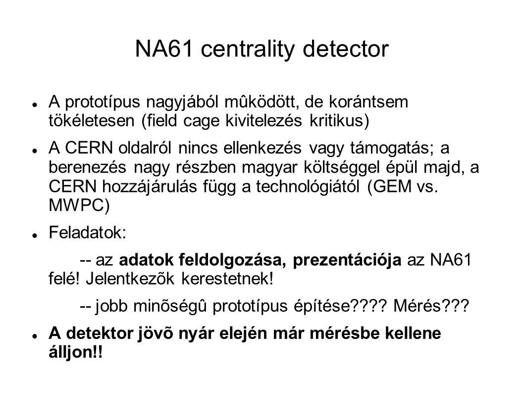 NA61 centrality detector A prototípus nagyjából mûködött, de korántsem tökéletesen (field cage kivitelezés kritikus) A CERN oldalról nincs ellenkezés vagy támogatás; a berenezés nagy részben magyar költséggel épül majd, a CERN hozzájárulás függ a technológiától (GEM vs.