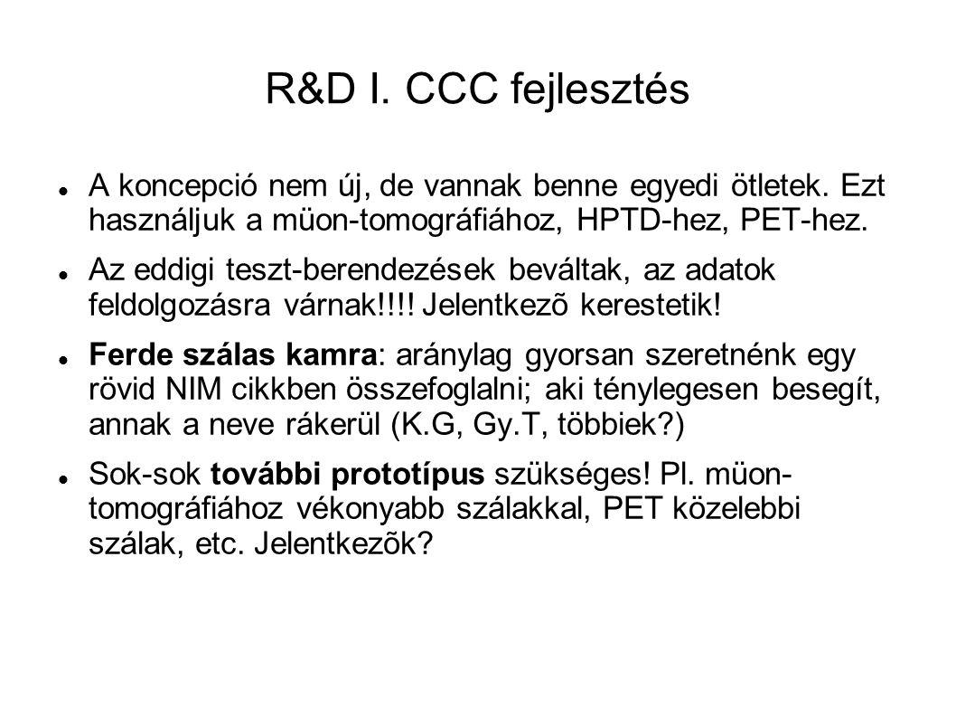 R&D I. CCC fejlesztés A koncepció nem új, de vannak benne egyedi ötletek.