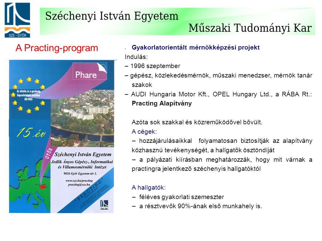 - Gyakorlatorientált mérnökképzési projekt Indulás: – 1996 szeptember – gépész, közlekedésmérnök, műszaki menedzser, mérnök tanár szakok – AUDI Hungar