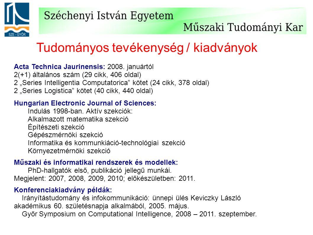 """Tudományos tevékenység / kiadványok Acta Technica Jaurinensis: 2008. januártól 2(+1) általános szám (29 cikk, 406 oldal) 2 """"Series Intelligentia Compu"""