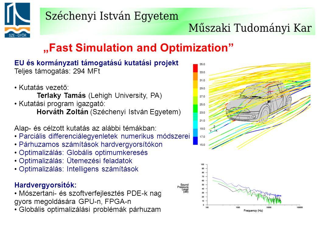 """""""Fast Simulation and Optimization"""" EU és kormányzati támogatású kutatási projekt Teljes támogatás: 294 MFt Kutatás vezető: Terlaky Tamás (Lehigh Unive"""