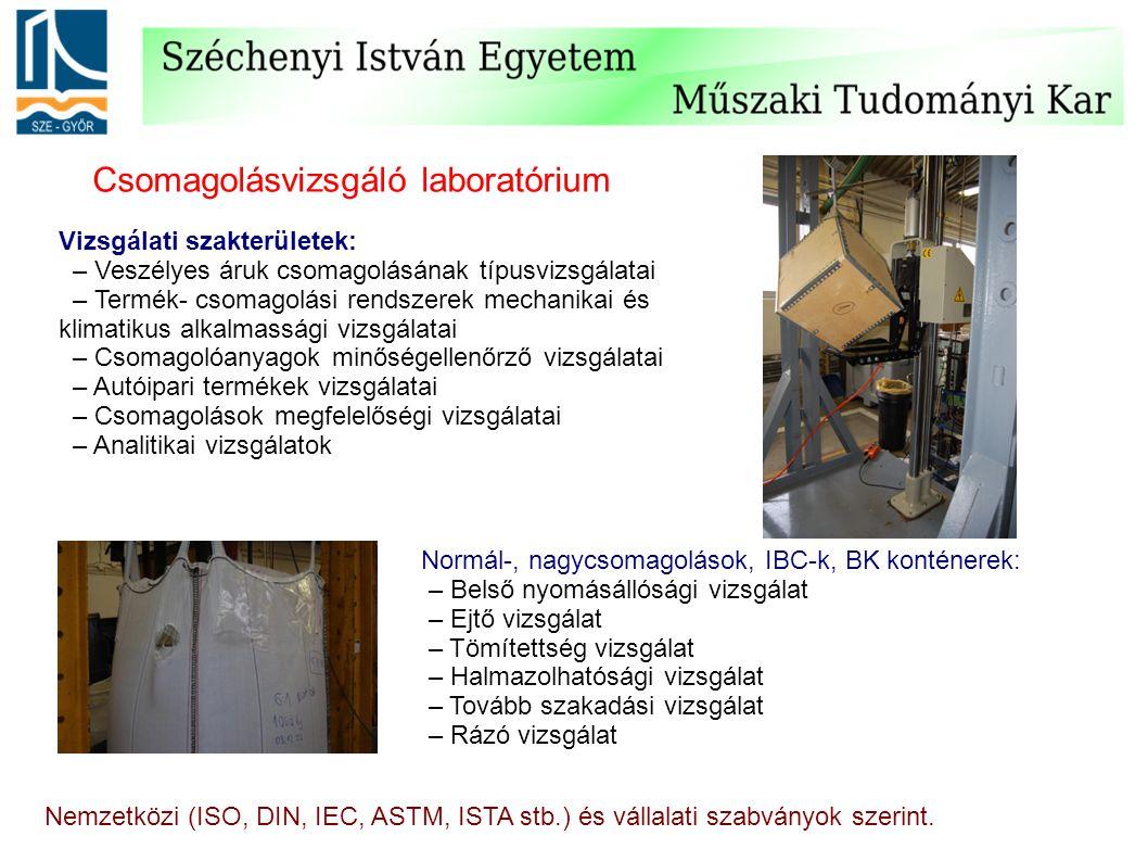 Csomagolásvizsgáló laboratórium Vizsgálati szakterületek: – Veszélyes áruk csomagolásának típusvizsgálatai – Termék- csomagolási rendszerek mechanikai