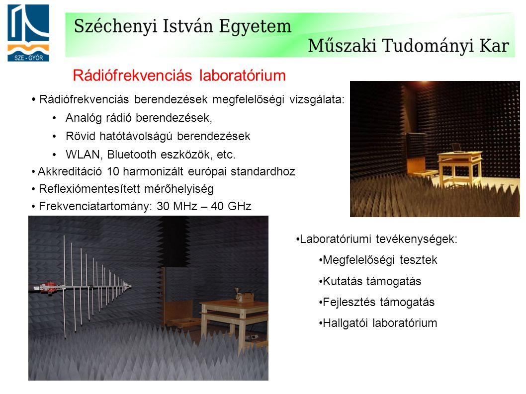Rádiófrekvenciás laboratórium Rádiófrekvenciás berendezések megfelelőségi vizsgálata: Analóg rádió berendezések, Rövid hatótávolságú berendezések WLAN, Bluetooth eszközök, etc.
