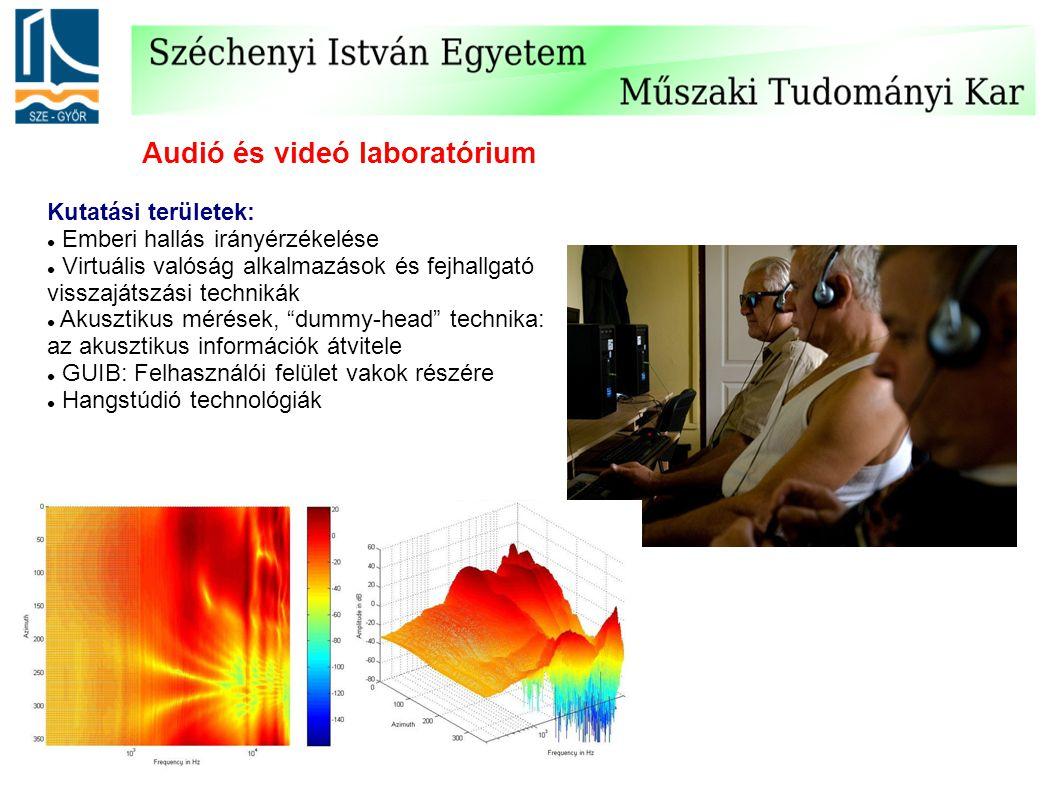 Audió és videó laboratórium Kutatási területek: Emberi hallás irányérzékelése Virtuális valóság alkalmazások és fejhallgató visszajátszási technikák Akusztikus mérések, dummy-head technika: az akusztikus információk átvitele GUIB: Felhasználói felület vakok részére Hangstúdió technológiák