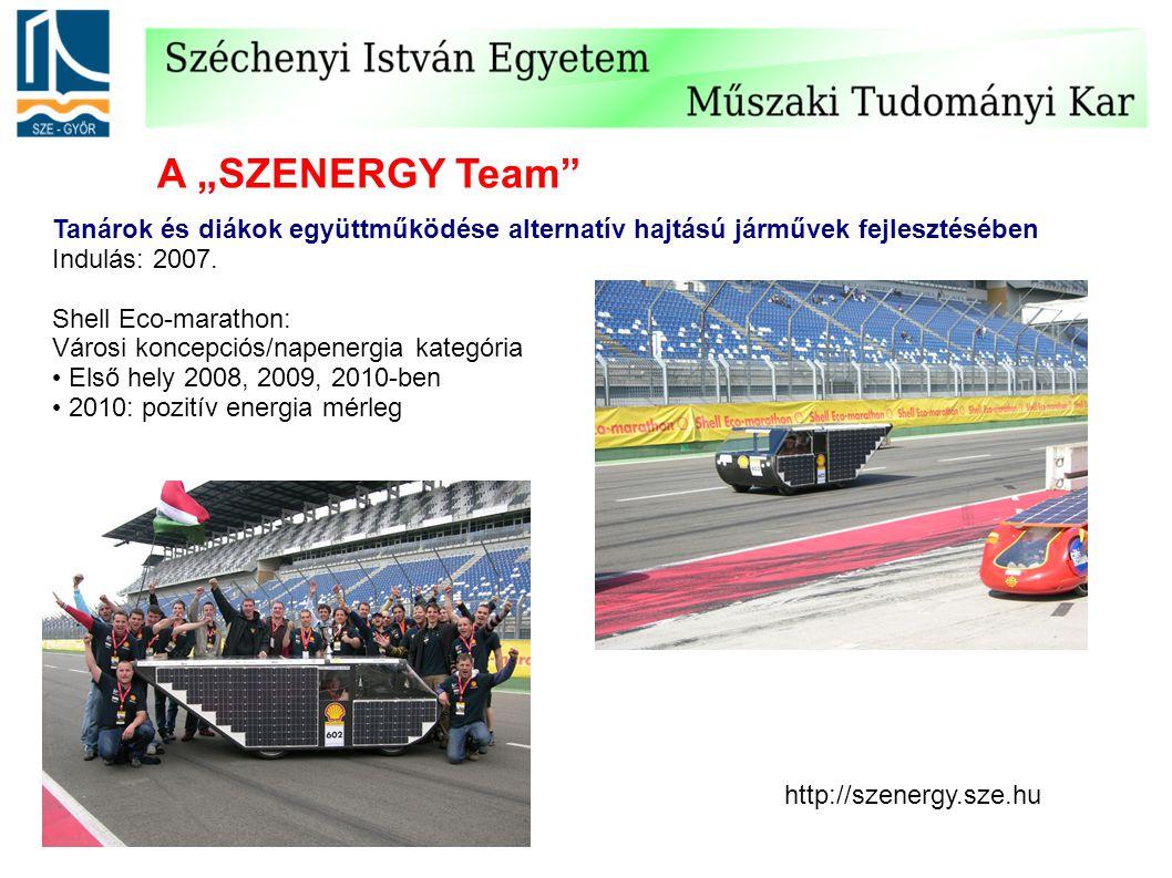 """A """"SZENERGY Team"""" Tanárok és diákok együttműködése alternatív hajtású járművek fejlesztésében Indulás: 2007. Shell Eco-marathon: Városi koncepciós/nap"""