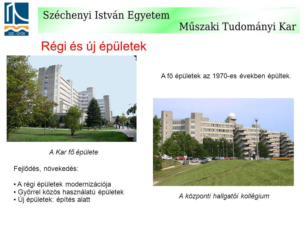Régi és új épületek A Kar fő épülete A központi hallgatói kollégium Fejlődés, növekedés: A régi épületek modernizációja Győrrel közös használatú épüle
