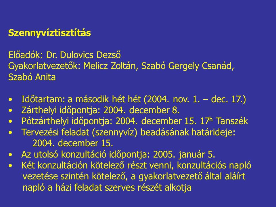 Szennyvíztisztítás Előadók: Dr. Dulovics Dezső Gyakorlatvezetők: Melicz Zoltán, Szabó Gergely Csanád, Szabó Anita Időtartam: a második hét hét (2004.