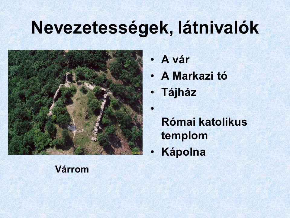 Nevezetességek, látnivalók A vár A Markazi tó Tájház Római katolikus templom Kápolna Várrom