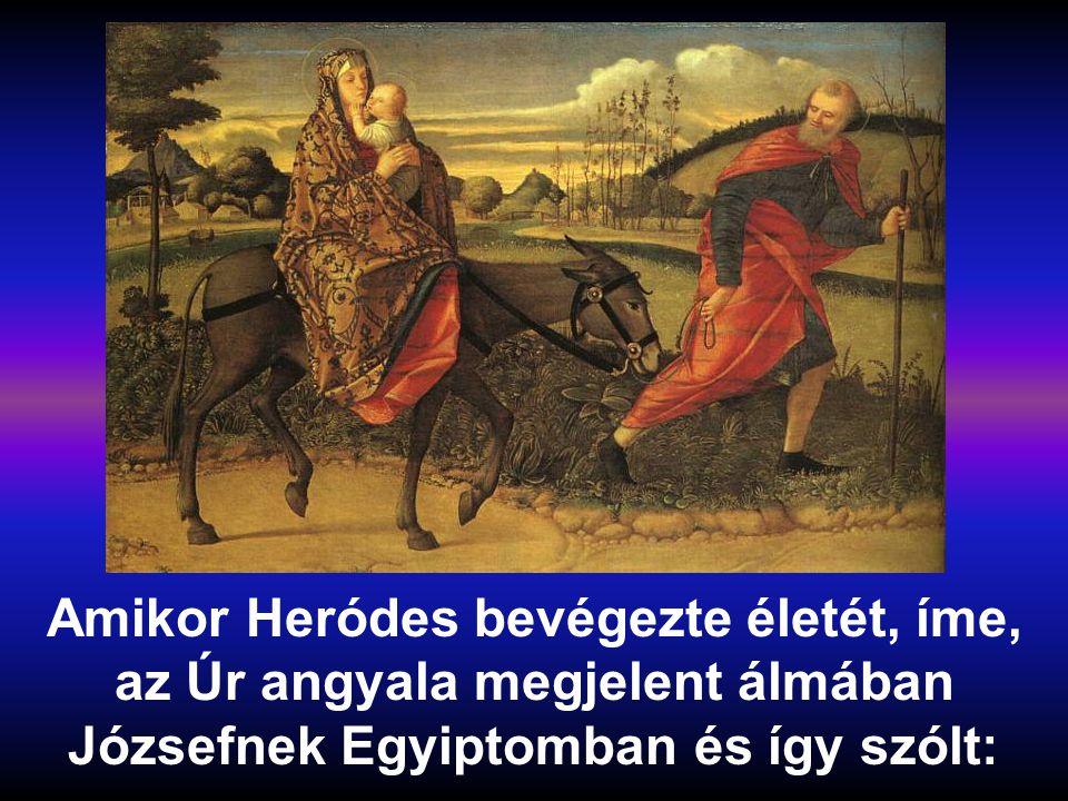 Amikor Heródes bevégezte életét, íme, az Úr angyala megjelent álmában Józsefnek Egyiptomban és így szólt: